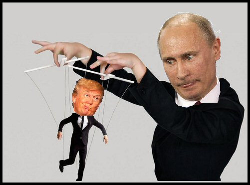 Many artists have satirized the Trump administration's connections with Russia, as shown here.