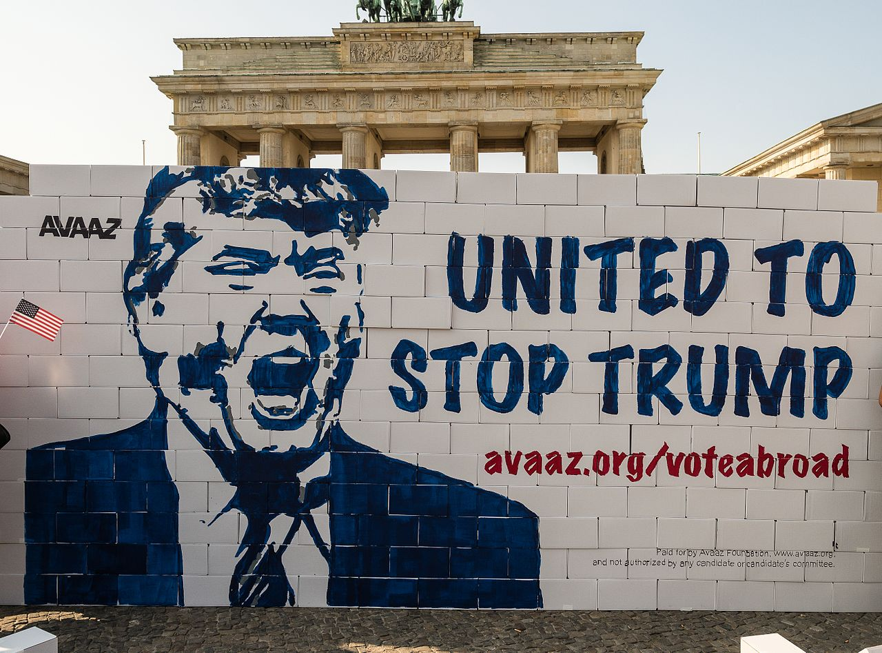 A mural by activist group AVAAZ protests Donald Trump's wall. The mural was painted to encourage U.S. citizens living abroad to register to vote.