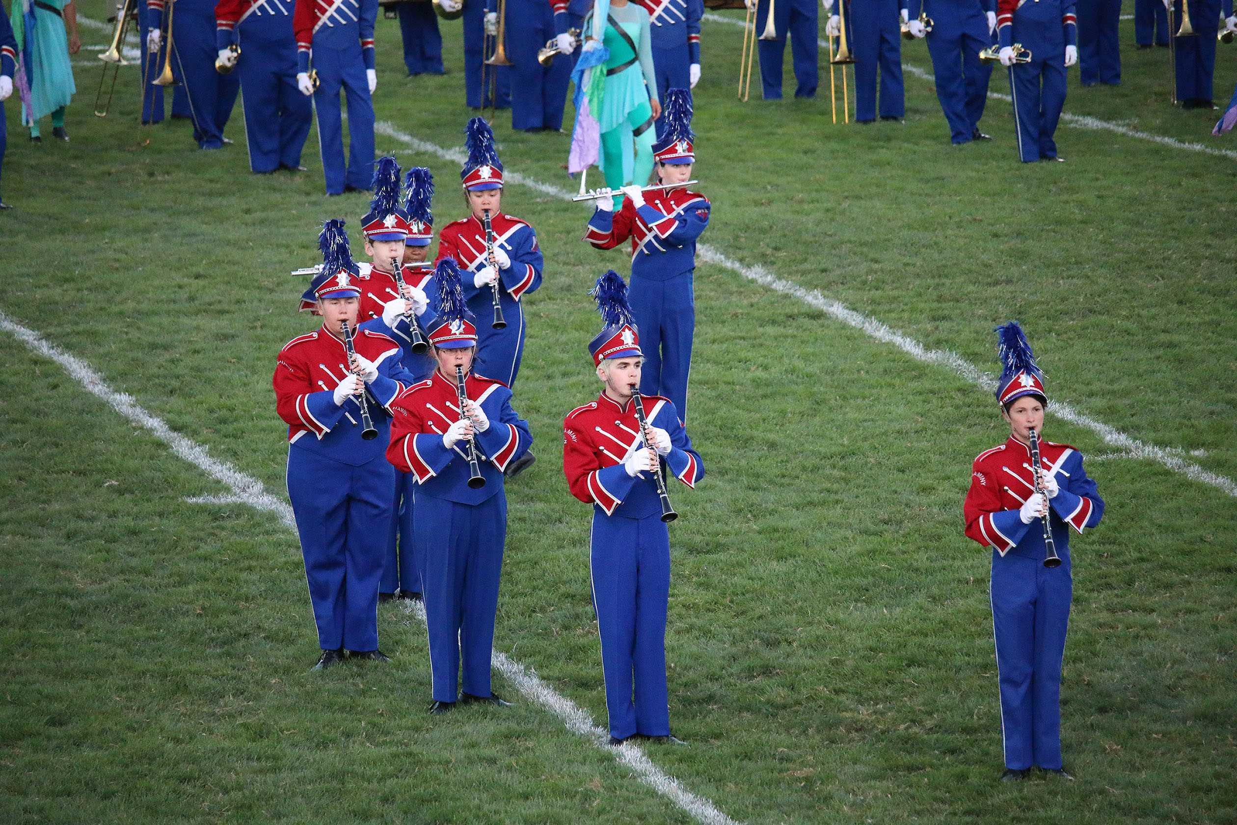 The Neshaminy band preforms on the field.
