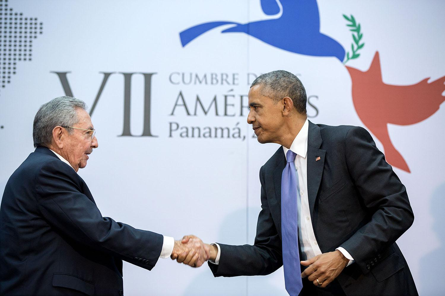The culmination of years of talks resulted in this handshake between the President and Cuban President Raúl Castro during the Summit of the Americas in Panama City, Panama.