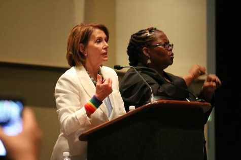 Nancy Pelosi, among others, spoke at the Women's caucus at the Democratic convention, addressing both women's a civil rights in general Photo/Grace Marion