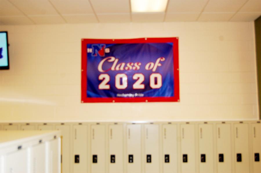 The freshman graduation sign in the hallway