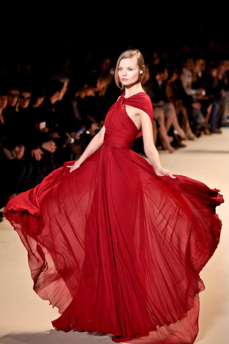 A model walks the runway at Paris fashion week.