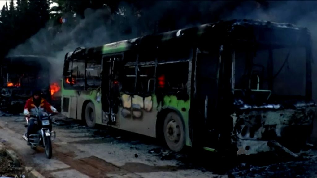 Burnt-out buses were meant to transport civilians and rebel fighters out of Aleppo.