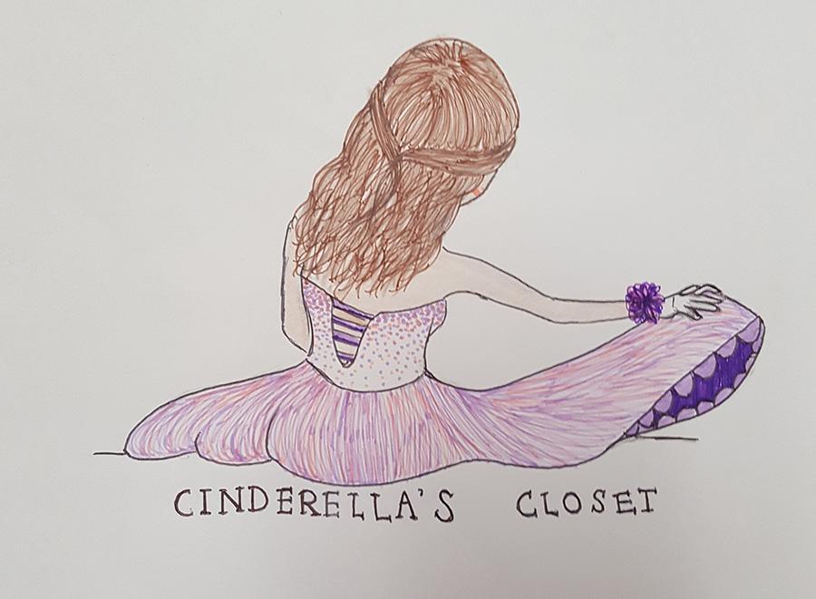 Neshaminy student, Valery Celis draws a Cinderella's closet logo.