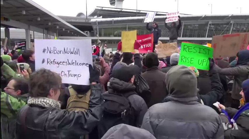 Protesters at a New York airport voice their disapproval of Donald Trump's Muslim ban from January.