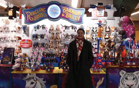 Staff writer Dorothy O'Connor is all smiles as she enjoys one of the final performances of the Ringling Brothers Circus.