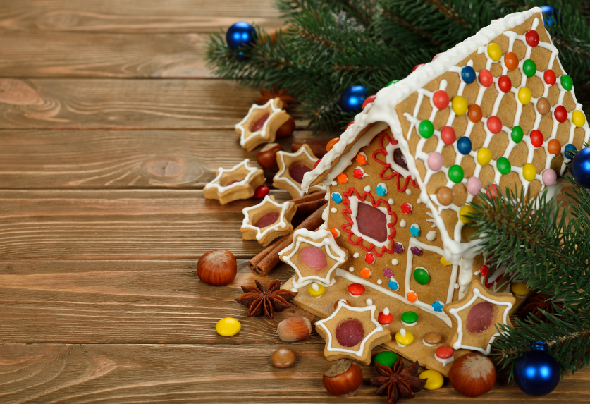 Christmas gingerbread house decorated with colorful candies